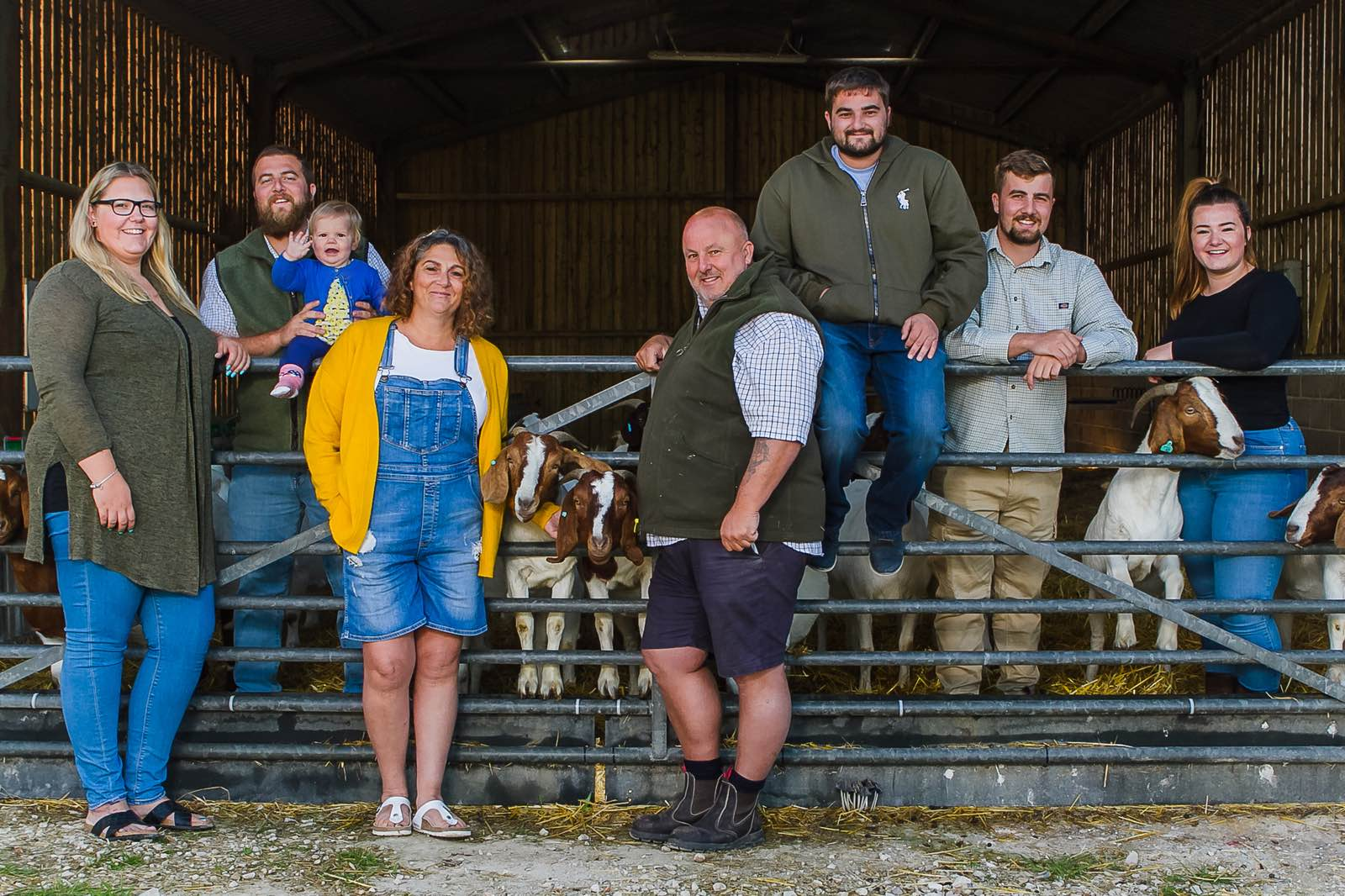 The Family at New Barn Farm Dorset with Goats in the background